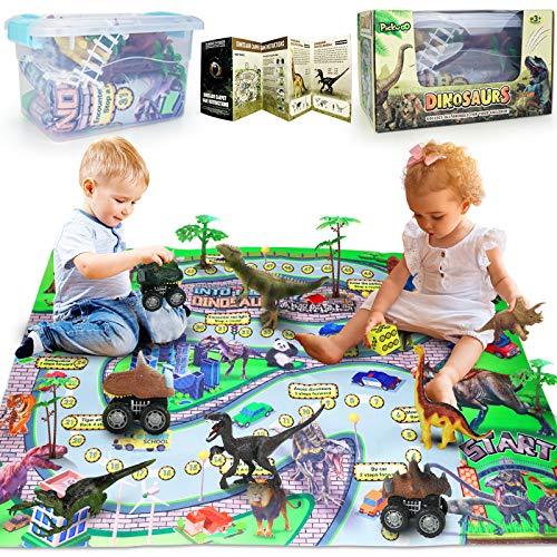 Figuras de dinosaurio y alfombra de juego