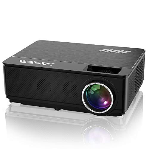 Proyector, YABER 7000 Lúmenes, de Cine en Casa Soporta Full HD 1080P, Corrección Electrónica Trapezoidal, Compatible con HDMI/USB.
