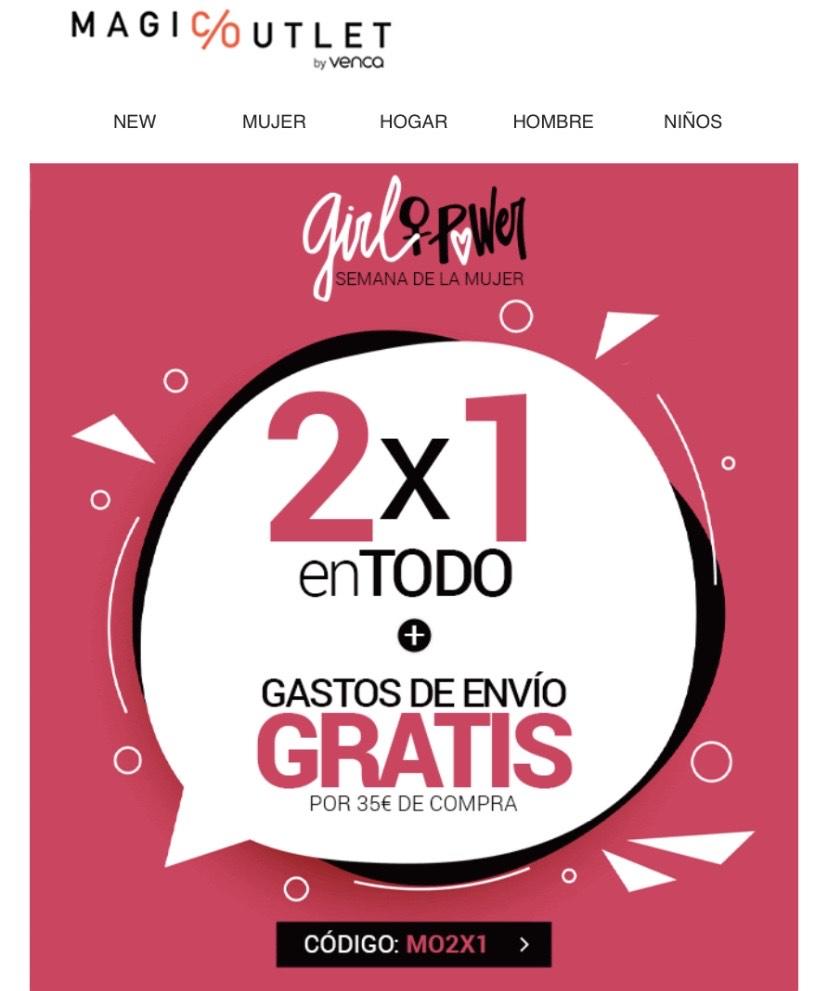 2 x 1 en todo + Gastos de envío gratis x35€