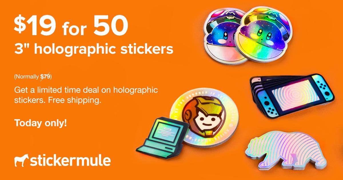 50 pegatinas holográficas por 18 euros