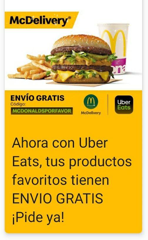 McDonald's envío gratis con Uber Eats