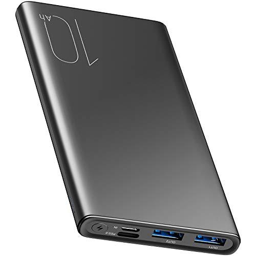 Batería Externa TOZO WB1 Power Bank 10000mAh, 18W PD + Quick Cargador 3.0 con 2 Puertos USB, USB-C Entradas y Salidas,Carga Rápida, Gris
