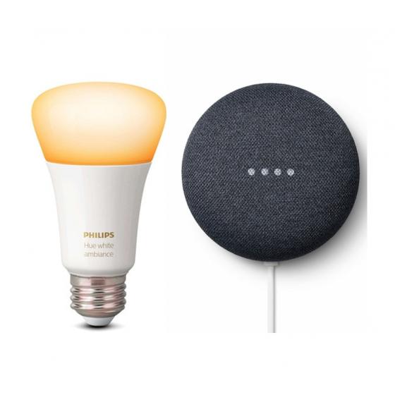 Google Nest Mini + Bombilla Philips Hue Ambiance por 29€