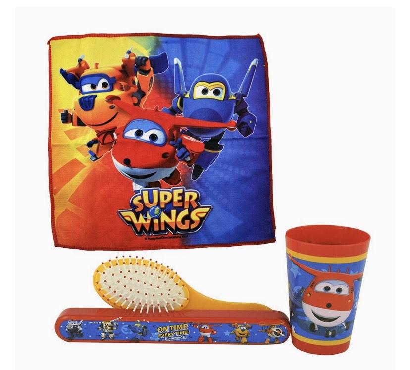 Súper Wings 1 neceser, 1 taza, 1 estuche de cepillo de dientes, 1 toalla facial, 1 cepillo de pelo