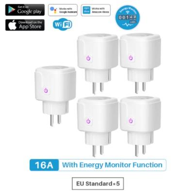 5 unidades Enchufe inteligente wifi con monitor de potencia UE, 16A, función de sincronización, asistente de Google Alexa