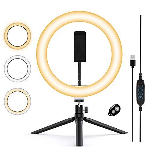Anillo de luz LED, Aro de Luz y Trípode 3 Colores Modo 12 Brillos Regulables