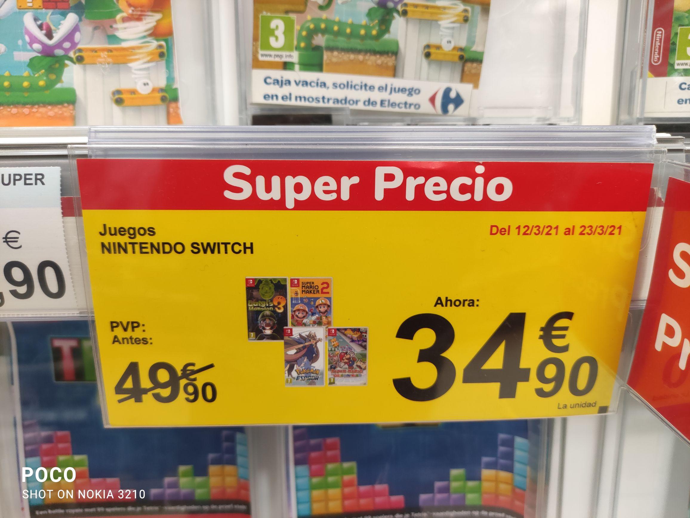 Ofertas juegos Switch en tiendas Carrefour