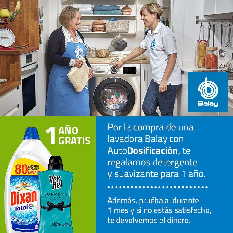 1 año gratis de detergente y suavizante al comprar una lavadora balay