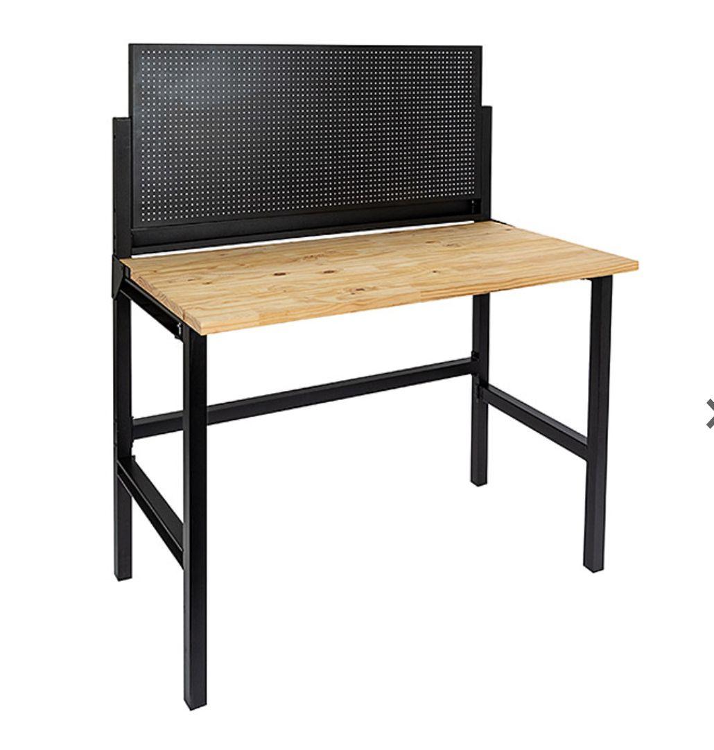 Banco de trabajo (madera maciza) plegable con Panel herramientas Perforado