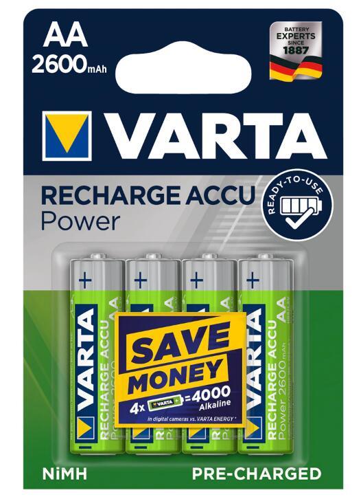 Pilas Varta AA recargables capacidad 2600 mAh