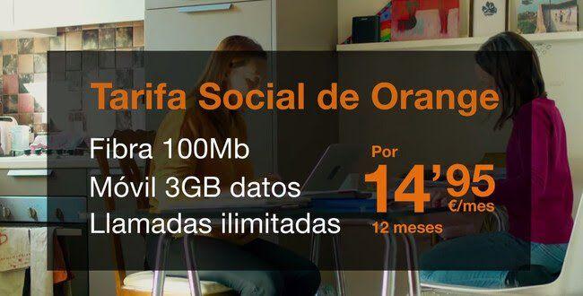 Fibra, fijo y móvil por 14,95 euros Orange (Personas en situación de vulnerabilidad) Del 5 al 30 de Abril