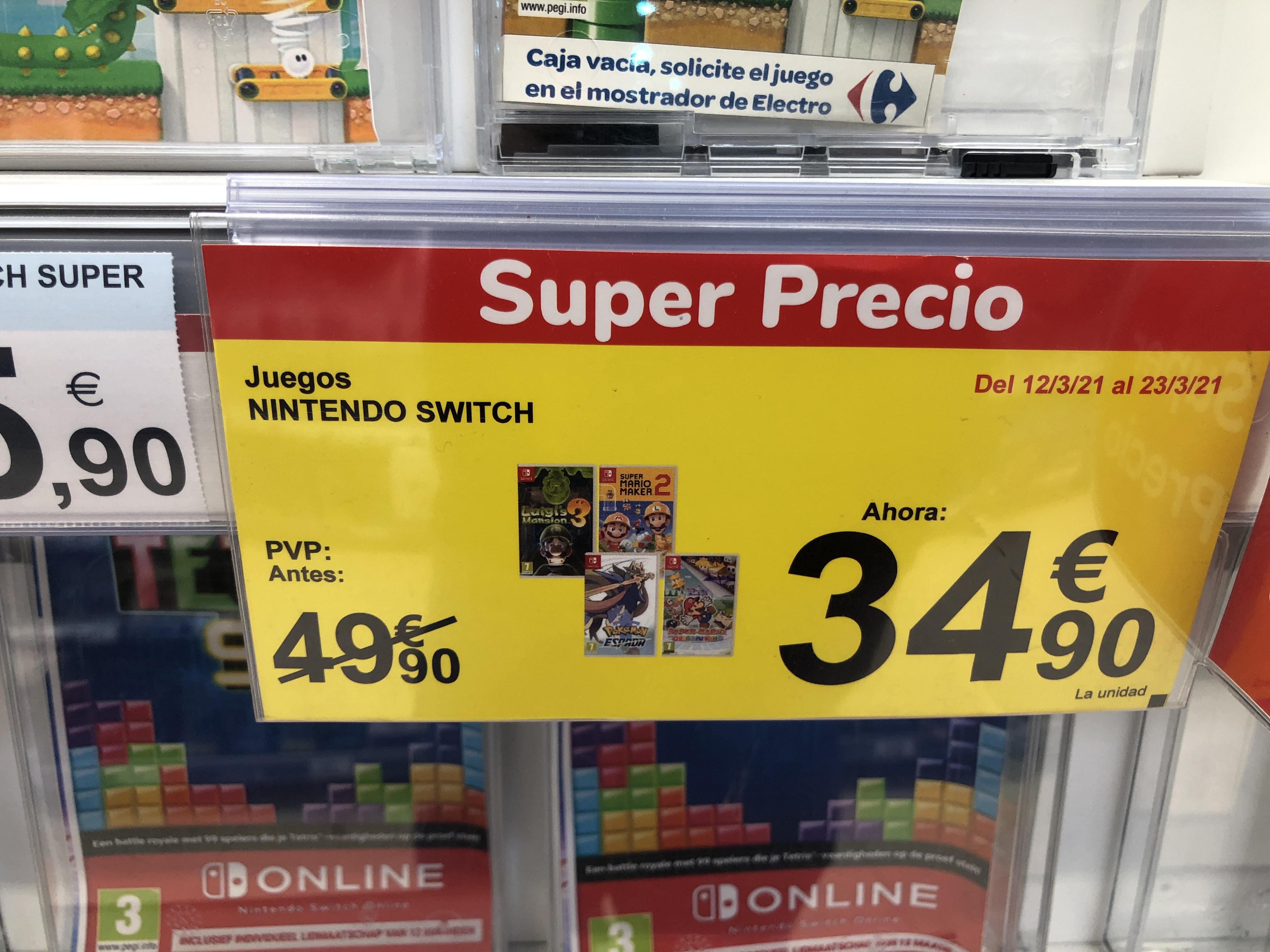Juegos de Switch a 34,90€ en Carrefour Orihuela