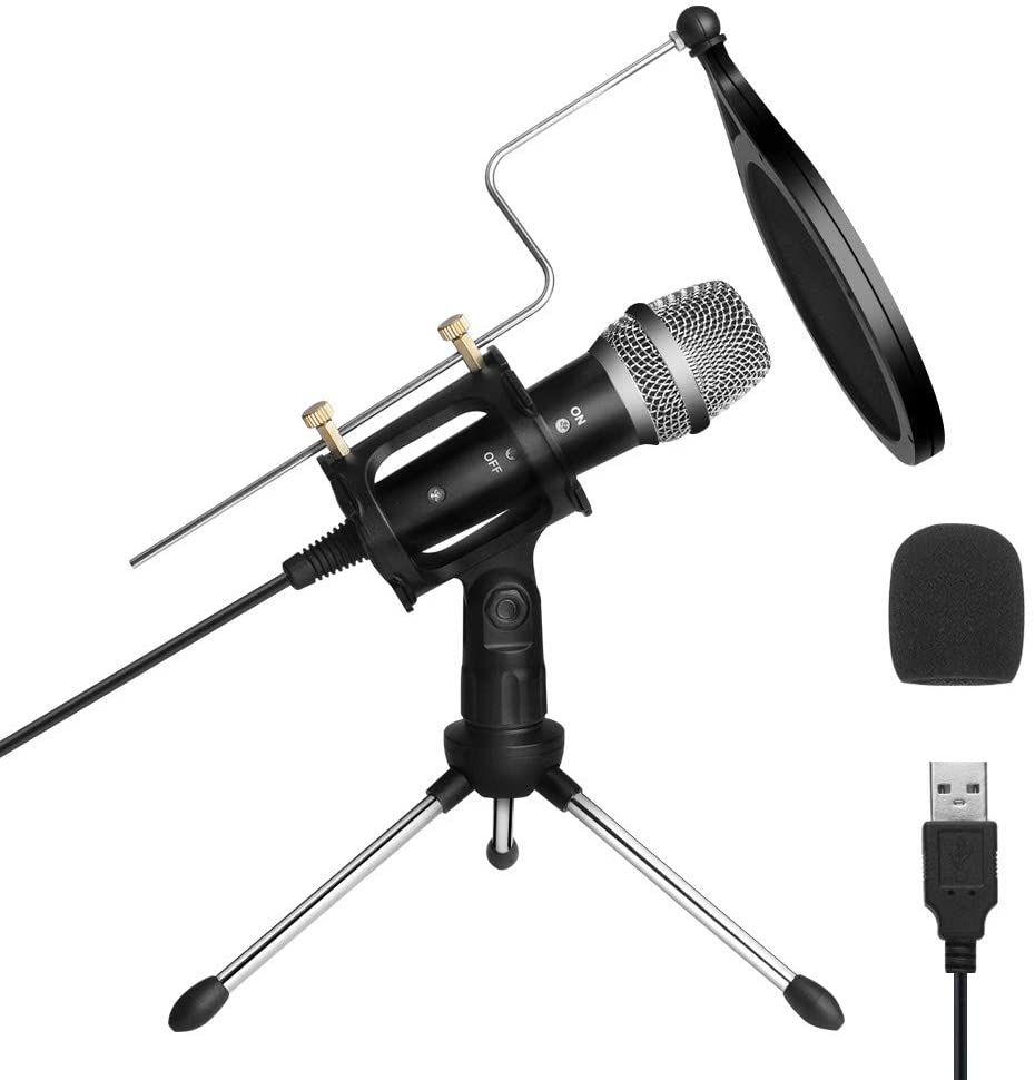 ARCHEER Micrófono PC,Micrófono USB de Condensador con Soporte Trípode & Antipop Filtro