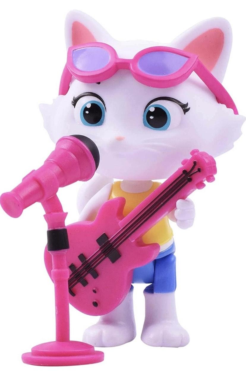 44 Gatos - Milady con bajo, figura articulada 8 cm con guitarra y micrófono de pie