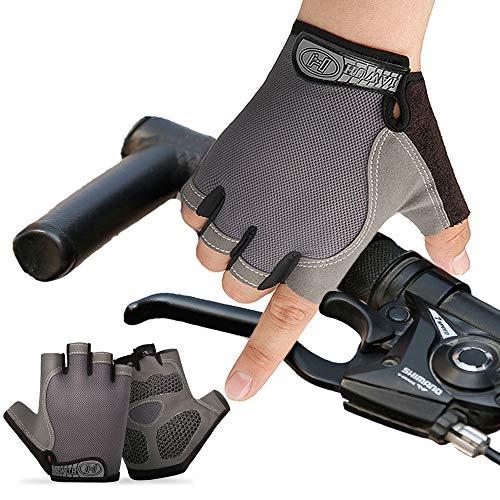Guantes MTB, de Medio-Dedo Antideslizante, Acolchado Amortiguador Malla Respirable para Deportes al Aire Libre.