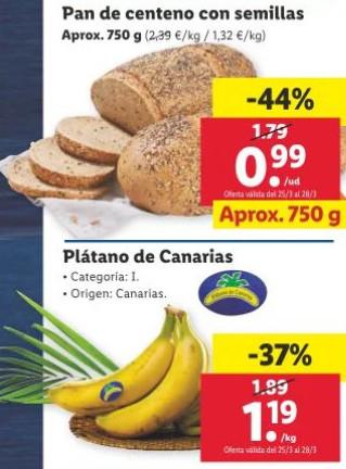 Ofertazas en Lidl para el 25/03: Hogaza de Centeno 750 grs. 0,99€ y Plátano de Canarias Cat. 1 por 1,19€