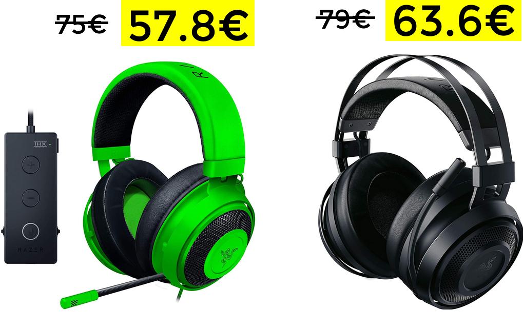 Razer Kraken Tournament Edition 57.8€ y Nari Essential 63.6€