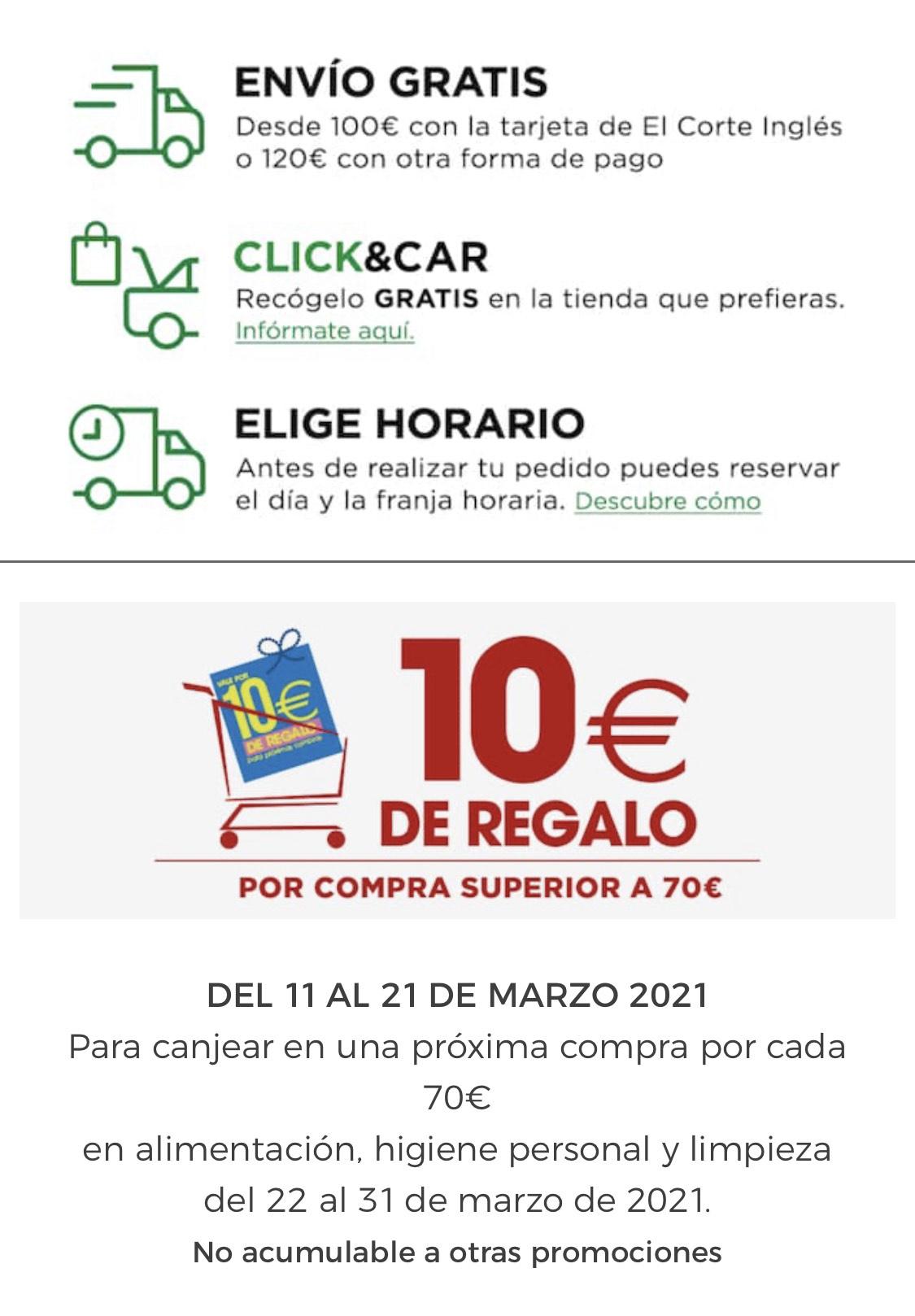 10€ descuento sobre 70€ Hipercor y Súpermercado ECI