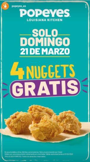 4 nuggets gratis del Popeyes con cualquier consumición