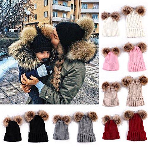 Pack de 2 Gorros de punto de lana, para Mamá y la hij@. Varios Colores