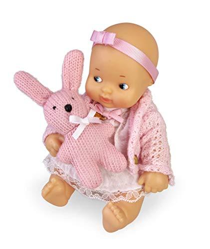 los Barriguitas- Set de bebé con ropita Rosa y Mascota de Punto