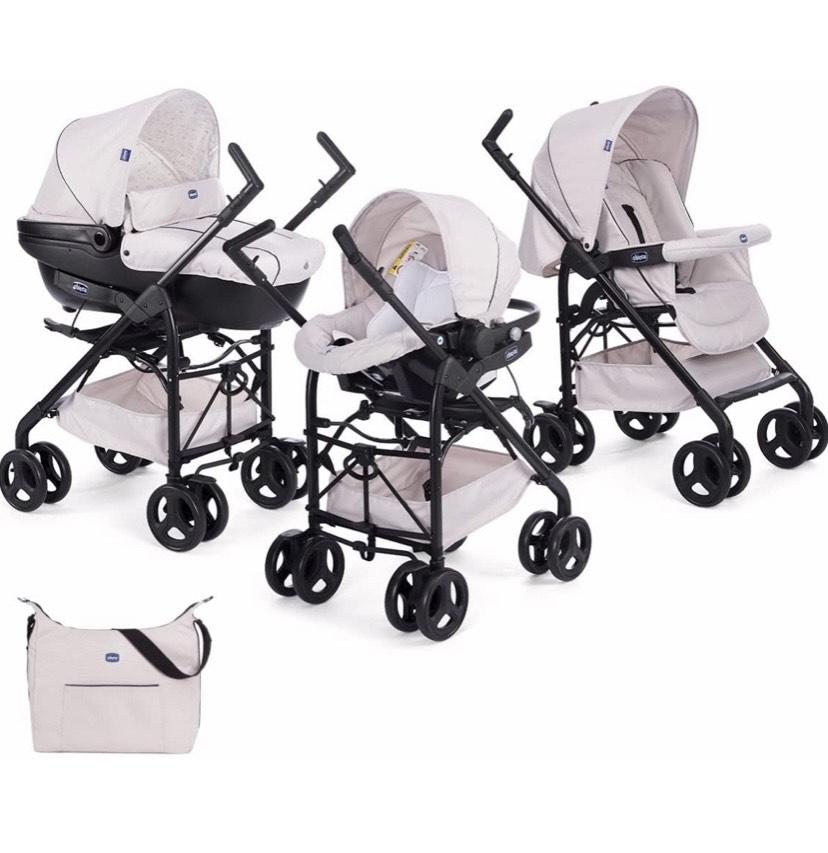 Chicco Trío Sprint - Cochecito de paseo 3 en 1 con capazo, carrito y silla de coche, de 0 a 15 kg