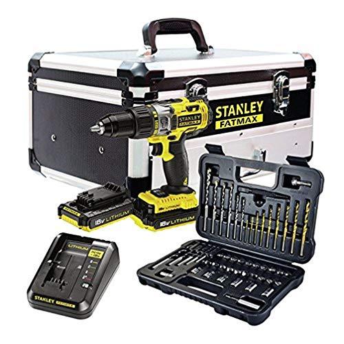 STANLEY FATMAX - Taladro percutor con 2 baterías,set de 50 acc y maletín de aluminio