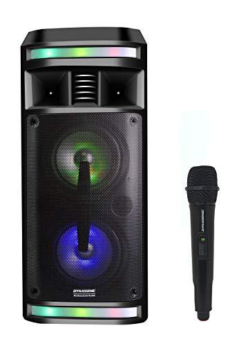 DYNASONIC - DY-65201 Altavoz Bluetooth Inalámbrico Sistema de Audio, Bluetooth, Altavoz Portatil, USB, Luces Multicolor, Radio FM, Micrófono