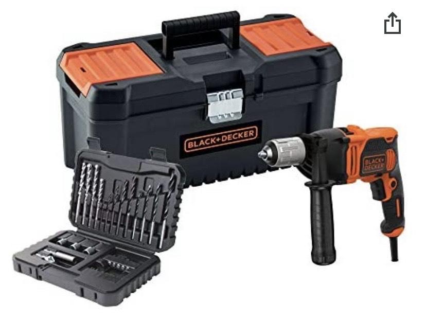 """Black+Decker BEH850KA32-QS Taladro percutor con cable 850W con set de 32 accesorios y caja de herramientas 16"""""""