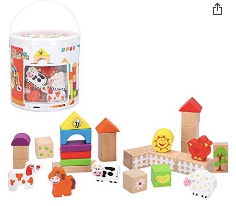 WOOMAX Cubo 50 bloques & figuras de madera natural y más