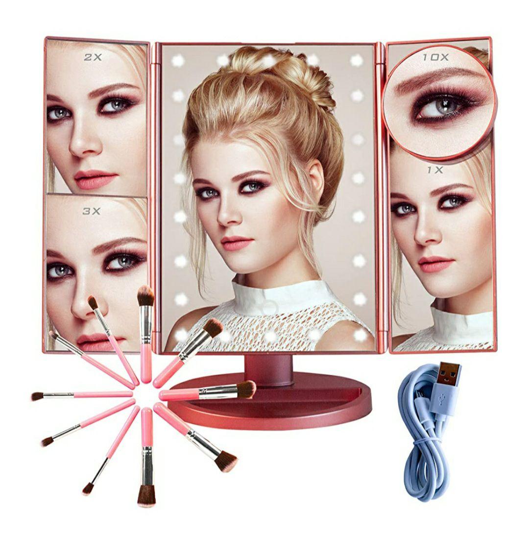 Espejo Maquillaje con Luz y Brochas de Maquillaje