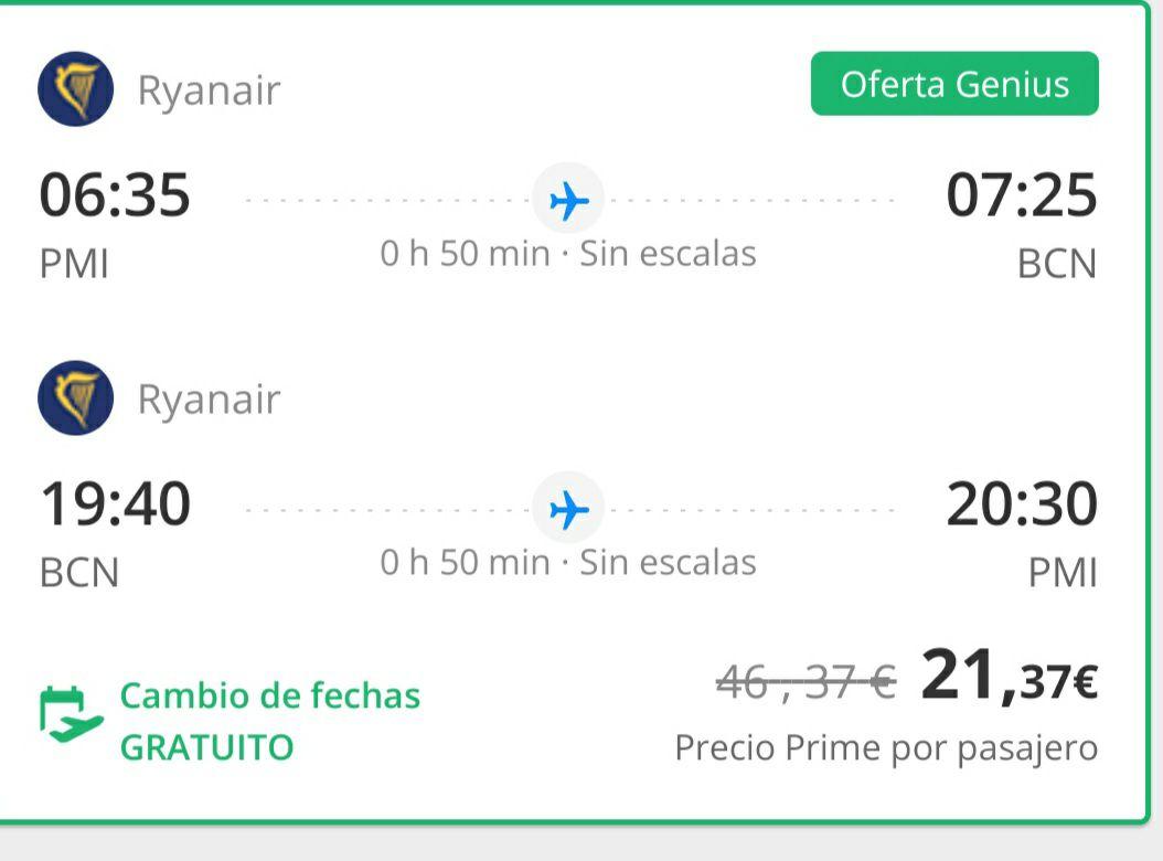 Vuelo Mallorca Barcelona cambio de fechas gratis