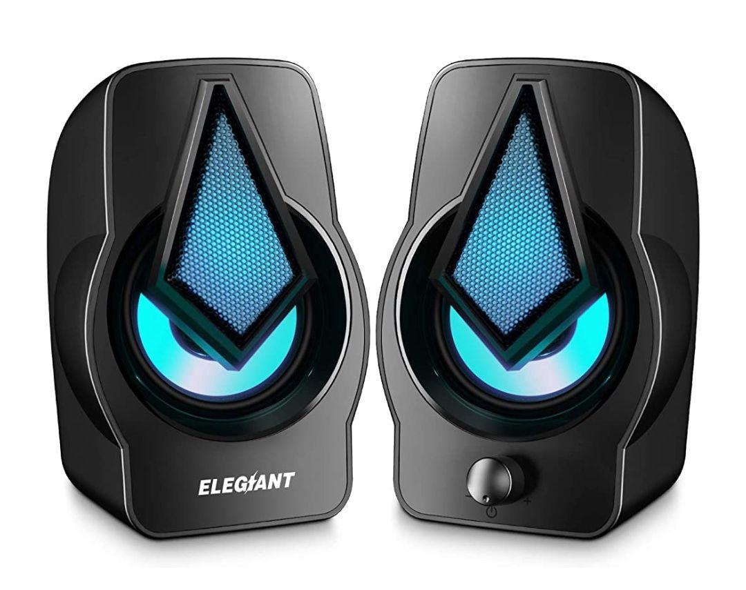 ELEGIANT:Altavoz 2.0 USB Gaming 10w,Sonido Estéreo,Control Integrado,LED RGB Mejorado