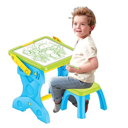 Mesa con silla y pizarra LED para niños