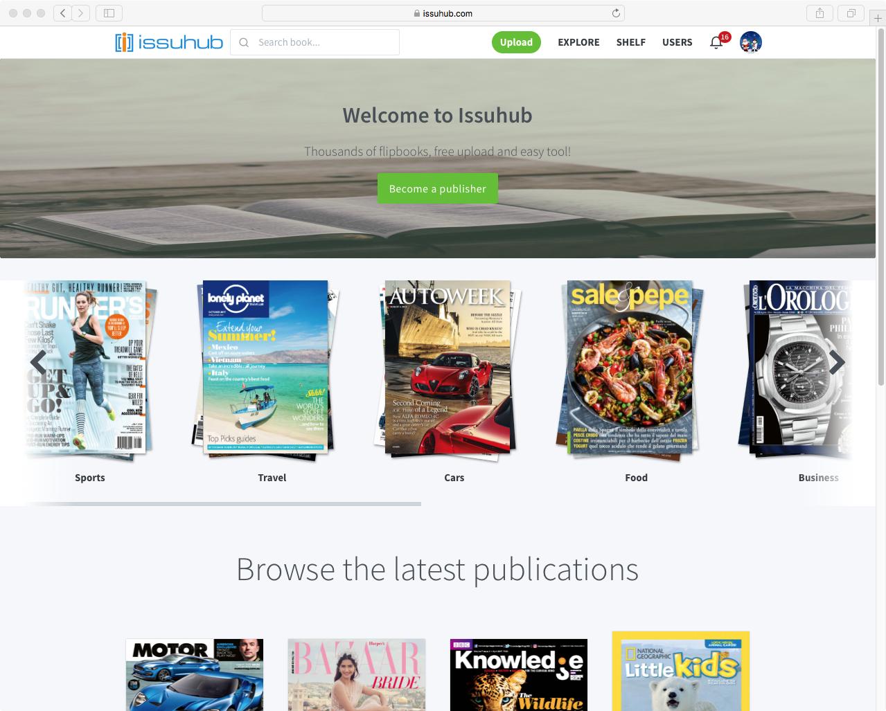 ISSU HUB PRO Gratis 6 MESES - una plataforma de publicación digital para subir revistas, catálogos, etc.