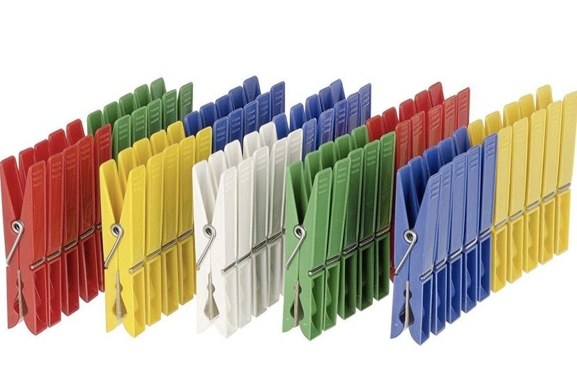 50 Pinzas para La Ropa, Polipropileno, Multicolor, 3x3x7 cm,