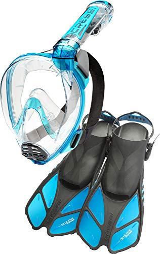 Set Conjunto Máscara Integral + Aletas, Unisex-Adult, Transparente/Aquamarine, Duke M/L-Bonete L/XL