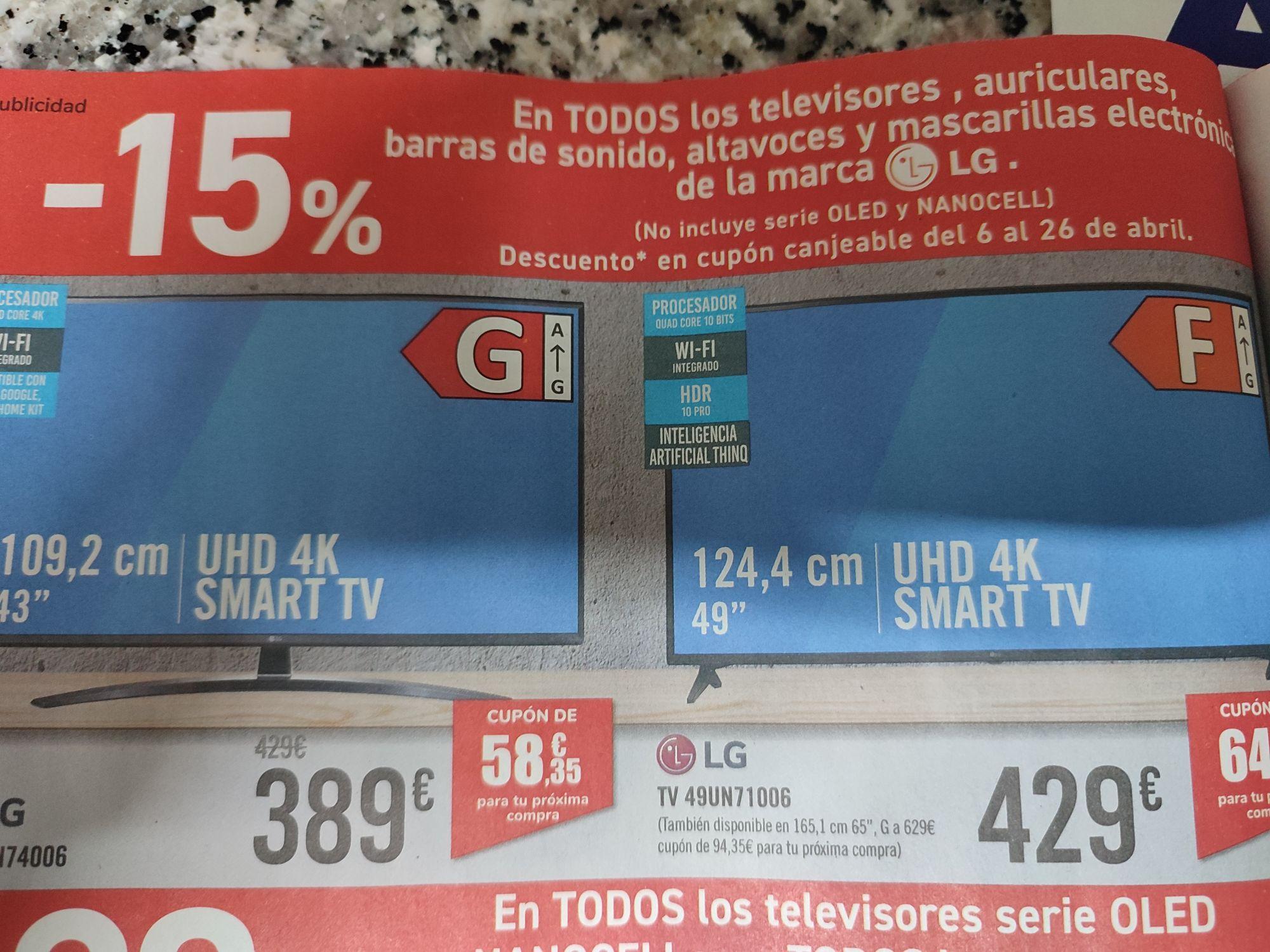 15% de descuento en televisores, barras de sonido, altavoces y mascarillas electrónicas marca LG en carrefour