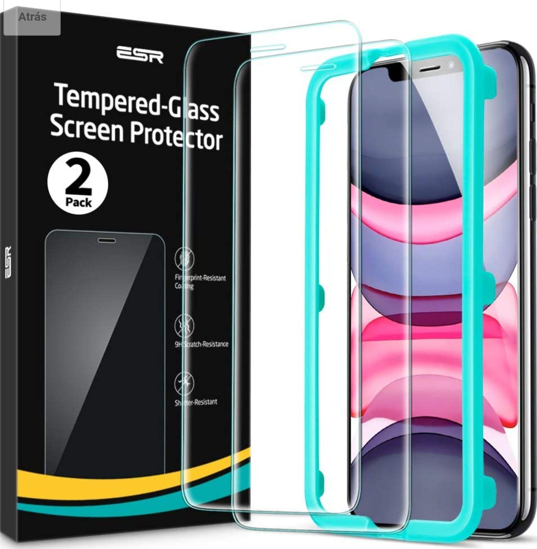 ESR Protector de Pantalla para iphone 11/iphone XR, 2 Unidades Protector de Cristal Templado Premium para iPhone 11