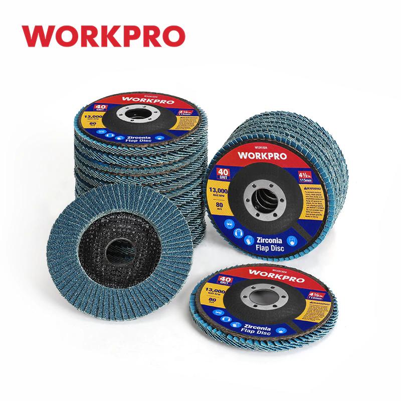 WORKPRO-Juego de discos de lijado para amoladora angular, 20 unidades