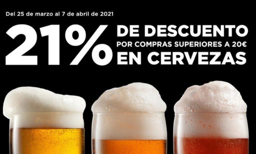 21% de descuento en todas las cervezas en el corte inglés