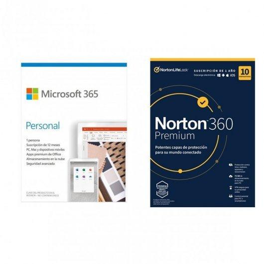 Microsoft 365 Personal 1 Usuario 1 Año + Norton 360 VPN Premium 10 Dispositivos 1 Año