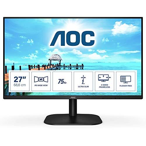 """AOC 27B2H- Monitor de 27""""Full HD (1920x1080, 75 Hz, IPS, FlickerFree, 250 cd/m, D-SUB, HDMI, VGA, Low Blue Light) Negro"""