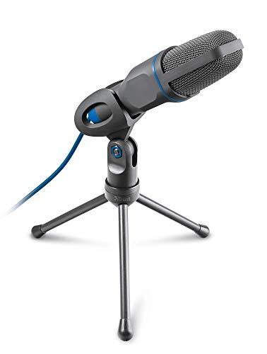 Micrófono condensador con conexión jack 3,5mm o USB con trípode incorporado