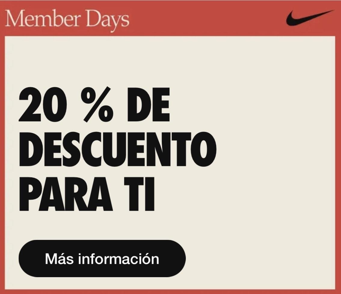 20% de descuento en Nike