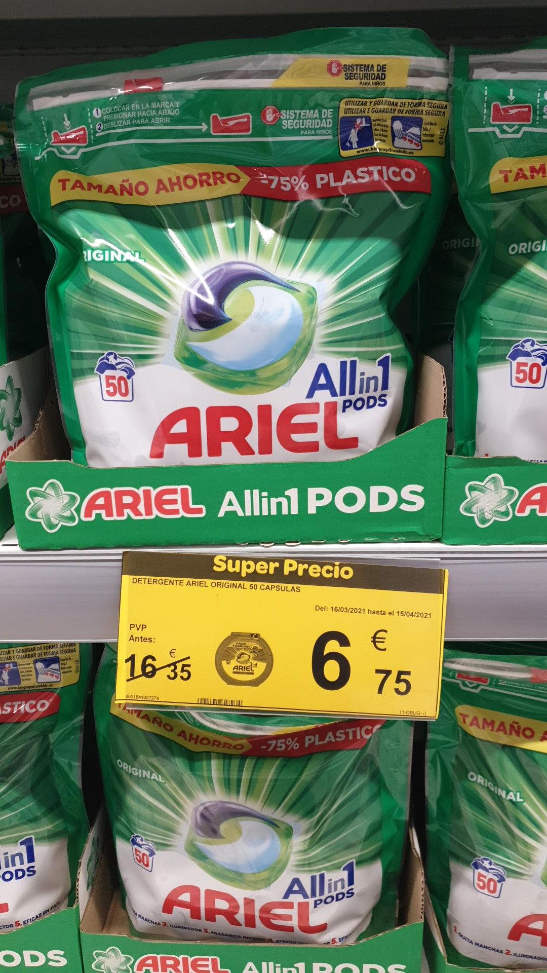 Detergente lavadora Ariel pods en carrefour Orihuela