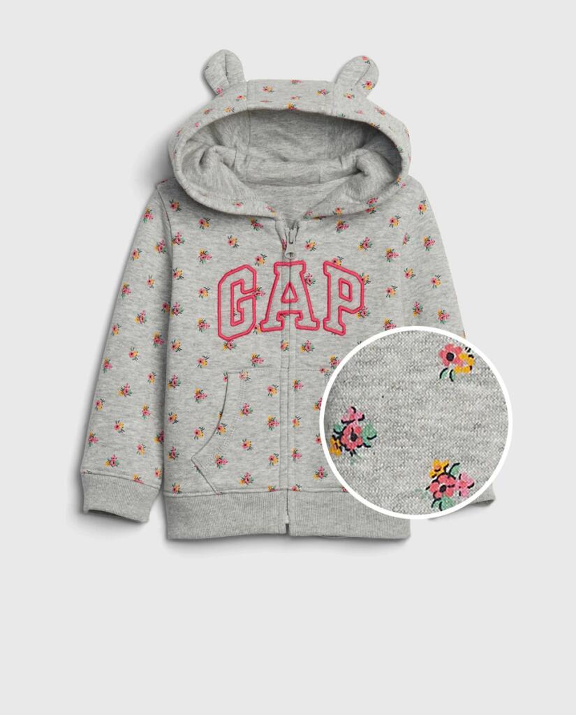 Sudadera de bebé niña con flores y capucha- GAP- talla 6 meses y 1 año