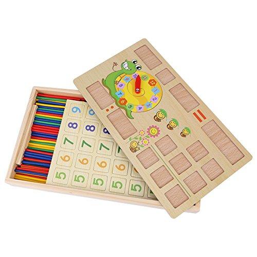 Juguetes Educativos de Madera para Niñ@s, Número Matemático Palos con Pizarra y Reloj.