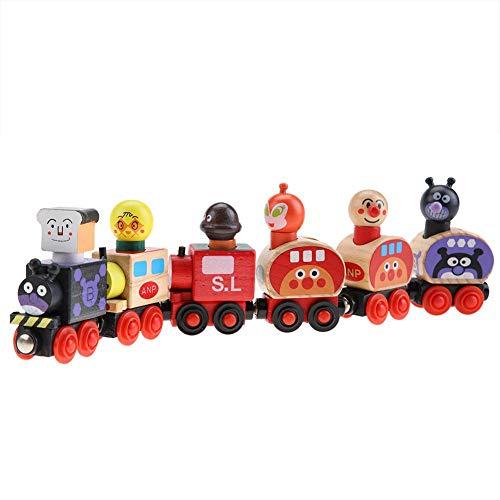 Mini tren magnético de madera, juego de dibujos animados divertido, vehículo de bloques.