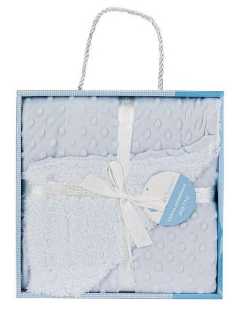 Manta Burbujas con Borreguillo para Bebés en Color Azul, unisex